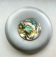 Vintage Modernist Stainless Steel And Abalone Brooch By Peak.